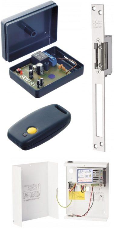 Deze standalone draadloze ontvanger/zender deuropener set set bestaat uit een draadloze ontvanger, een draadloze zender, een deuropener, en voeding dus compleet. R1H |S10U |1201EL | T1H